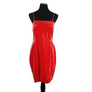 Lilian Shiny Faux Leather Red Body Con Dress